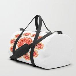 Red Floral Floklore Flower Pattern Illustration Duffle Bag