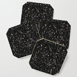 Black and white shiny glitter sparkles Coaster