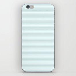 Duck Egg Pale Aqua Blue and White Horizontal Nautical Sailor Stripe iPhone Skin