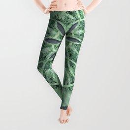 Mint Green 3D Faux Embroidery Leggings