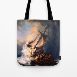 The Storm On The Sea Of Galilee Painting By Rembrandt Tote Bag