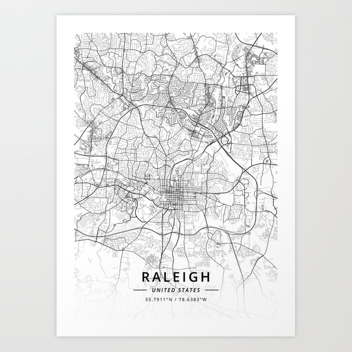 Raleigh, United States - Light Map Kunstdrucke