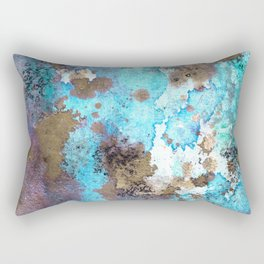 Nebula : blue, cyan, purple and gold ink abstract painting Rectangular Pillow