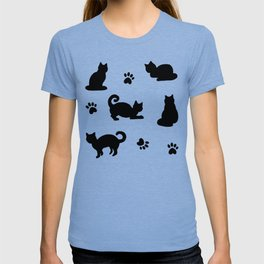 Black Cats and Paw Prints Pattern T-shirt