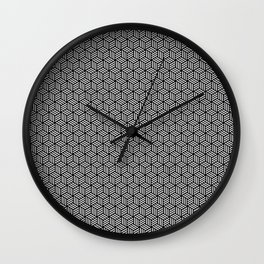 Isometric Weaved Cubes in Black and White Pattern - Graphic Design Wall Clock