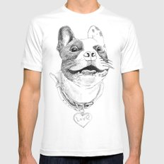 Bunix Pug White SMALL Mens Fitted Tee