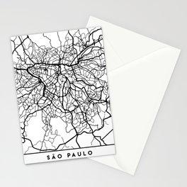 SAO PAULO BRAZIL BLACK CITY STREET MAP ART Stationery Cards