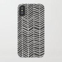 herringbone iPhone & iPod Cases featuring Herringbone – Black & White by Cat Coquillette