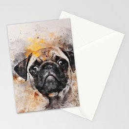 Pug Puppy Using Watercolor On Raw Canvas Stationery Cards