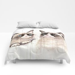 Grumpy Watercolor Cats Comforters