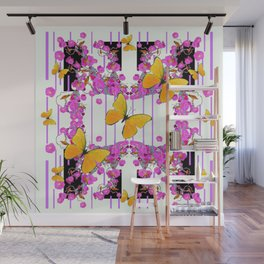 White Color Yellow Butterflies & Pink Flowers Black Wall Mural
