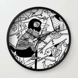 Crazy Birds illustration Wall Clock
