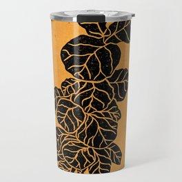 Fiddle Leaf Fig Block Print (Orange) Travel Mug
