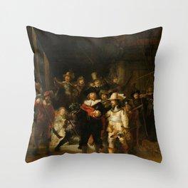 Rembrandt van Rijn - Nightwatch - Nachtwacht (1642) Throw Pillow