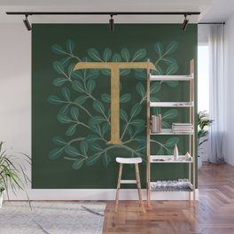 Forest Leaves Letter T 2018 Wall Mural