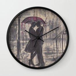Silouette lovers on rainy street Wall Clock