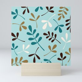 Assorted Leaf Silhouettes Teals Cream Brown Gold Mini Art Print