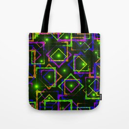 Bright diamonds and squares with highlights in the intersection on a green background. Tote Bag