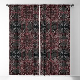 Floral08 Burgundy Red Blackout Curtain