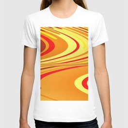 Yellow red wave Design T-shirt