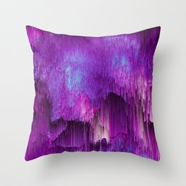 Shatter Falls - Abstract Glitch Pixel Art Throw Pillow