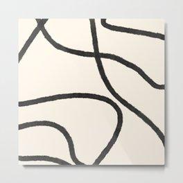 Thick Continuous Line Series 3 | Boho Home Decor, Modern Wall Art, Continuous Line Art, Contour Line Metal Print