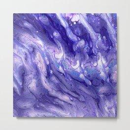 Purple Galaxy Acrylic Fluid Pour Metal Print