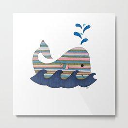 Striped Whale Metal Print