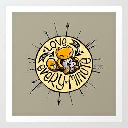 Skribbles: Love every minute (tan) Art Print