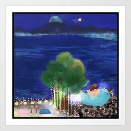 Mid-Autumn Onsen at Fuji Art Print