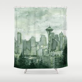 Seattle Skyline Watercolor Space Needle Emerald City 12th Man Art Shower Curtain
