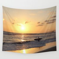 surfer Wall Tapestries featuring Sundown Surfer by kelly*n photography