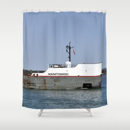 Manitowoc freighter Shower Curtain