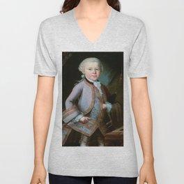 Wolfgang Amadeus Mozart (1756 -1791) by Barbara Krafft (1819) Unisex V-Neck