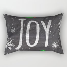 Holidays Joy typography snow black chalkboard Rectangular Pillow