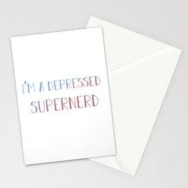 I'm a depressed supernerd Stationery Cards