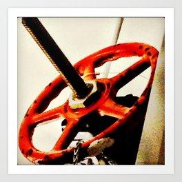 Red Plumbing Wheel Photography Art Print