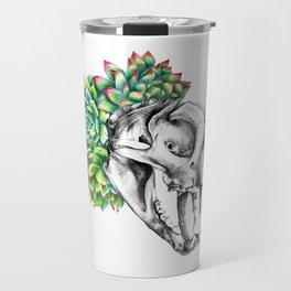 Rock Rose Cat Skull Travel Mug