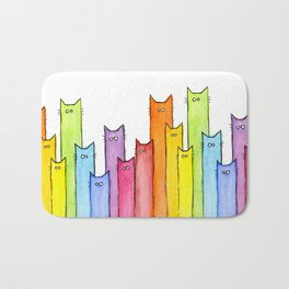 Nursery-Art-Print-Cat-Rainbow-Whimsical-Animals Bath Mat