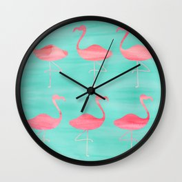 Watercolor Flamingos Wall Clock