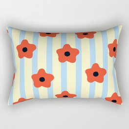 Poppies & Stripes Rectangular Pillow