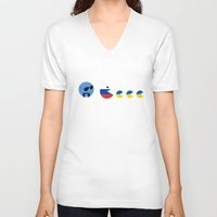 ukraine V-neck T-shirts featuring United Nations Russia and Ukraine by mailboxdisco