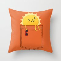 sunshine Throw Pillows featuring Pocketful of sunshine by Picomodi