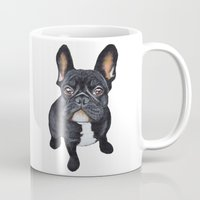 french Mugs featuring French Bulldog by PaperTigress