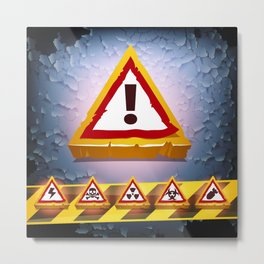 Grunge Background With Warning Signs Metal Print