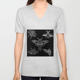 Flying Insect Themed Illustration Unisex V-Neck