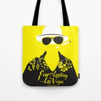 fear and loathing Tote Bags featuring Fear and Loathing in Las Vegas by Jordi Hayman Design