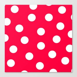 Polka Dots - Electric Crimson and White Canvas Print