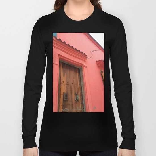 Cartagena is Peachy, Colombia, South America. Coral Pink Building with Ornate Lizard design Long Sleeve T-shirt