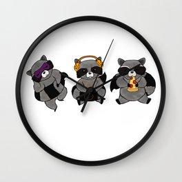 three wise raccoon Wall Clock